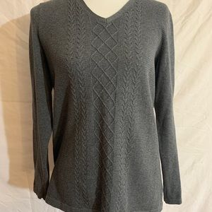 Talbots Grey Sweater w/Front Detail